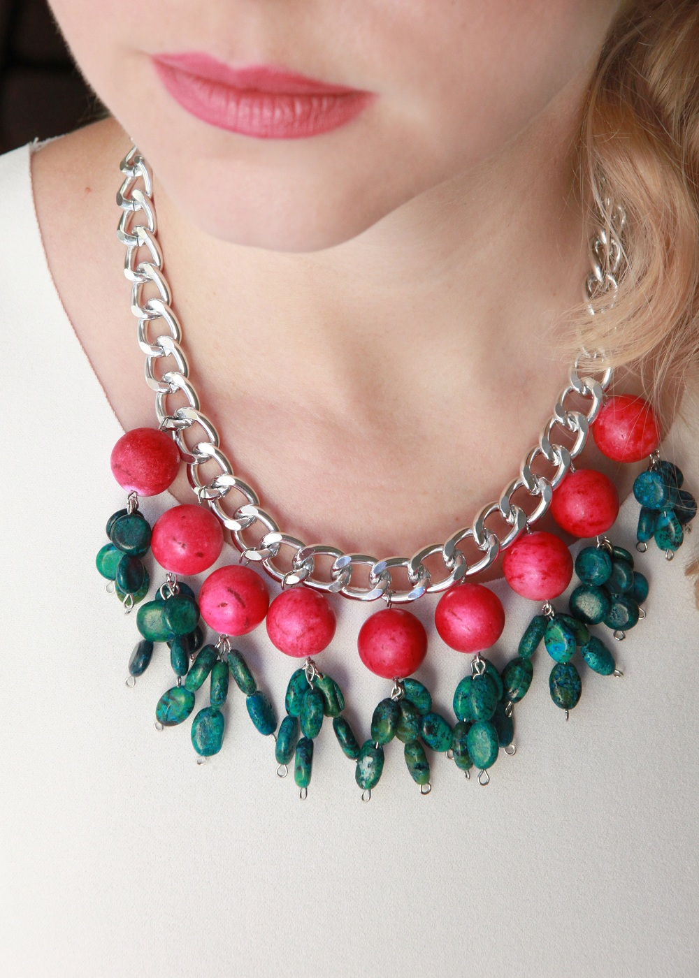 Halskette mit Halbedelsteinen/ Jade Fuxia Halskette mit Halbedelsteinen/ Jade Fuxia 29