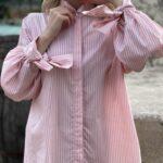 Damen gestreifte Bluse